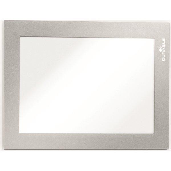 Durable Magnet Inforamme A6, sølv, 5 stk.
