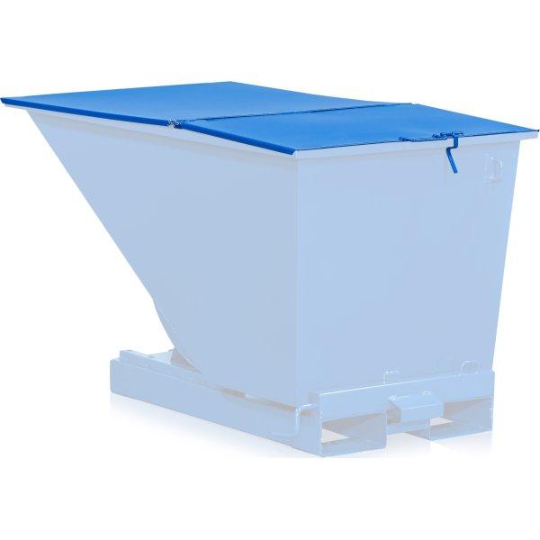 Fladt låg til 1100 l tipcontainer, blå