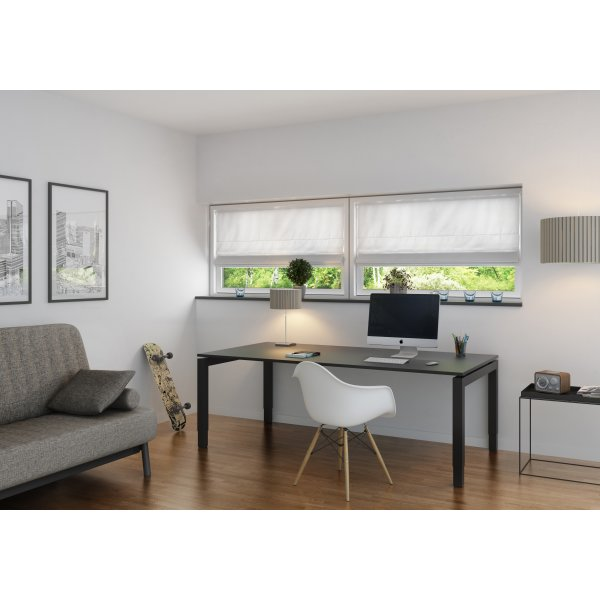 Debel New York Foldegardin, MørkL, 120x130cm, Hvid