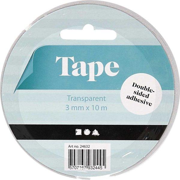 Dobbeltklæbende Tape, 3 mm x 10 m