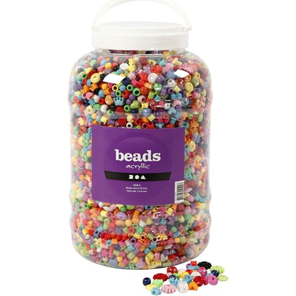 Beads Akrylperler, 6-20 mm, 8100 stk