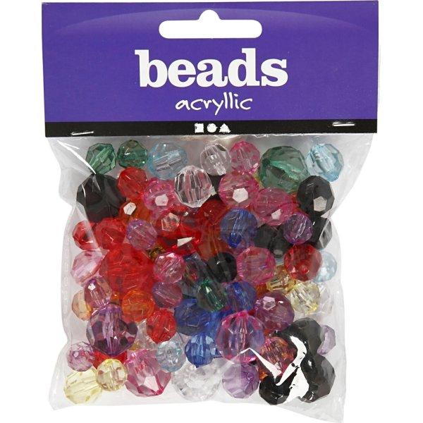 Beads Facetperler, 10-16 mm, 70 stk