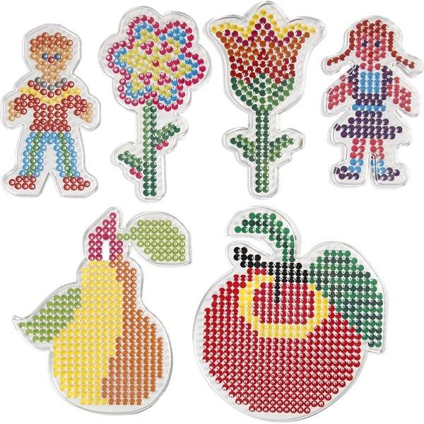 Perleplader, børn og blomster, 6 stk