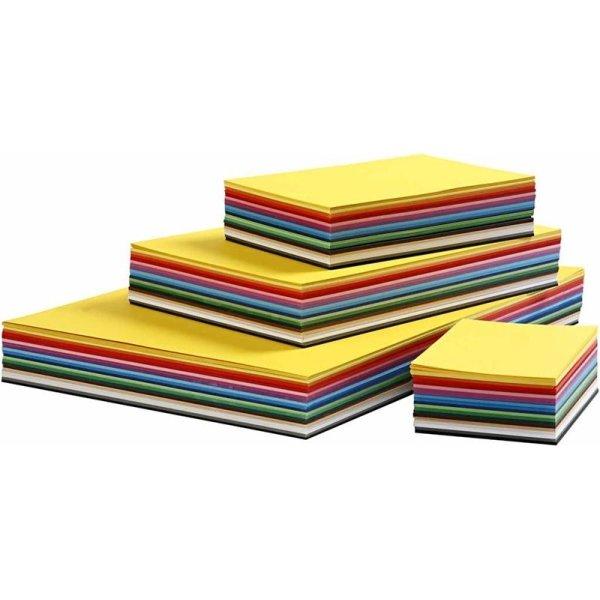 Colortime Karton, A2-A6, 180g, 1800 ark, ass.
