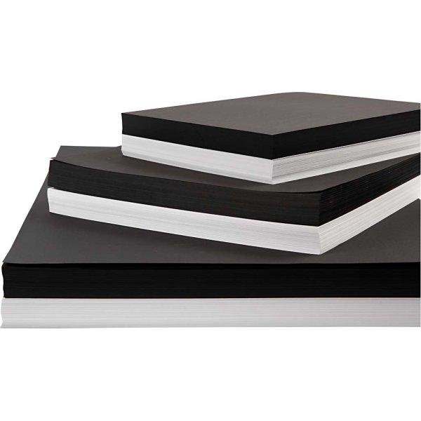 Karton, A2-A4, 200-250g, 600 ark, hvid/sort