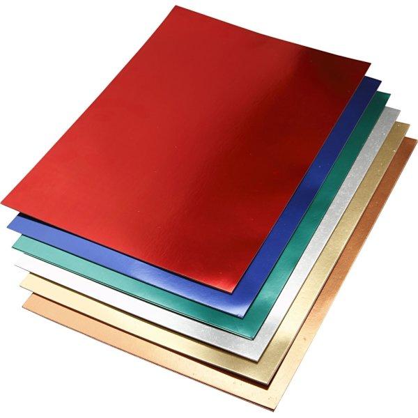 Metalkarton, A2, 280g, 30 ark, ass. farver