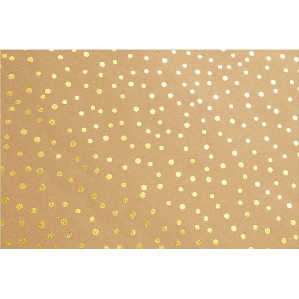 Læderpapir m. guldprikker, 350g/m2, 50x100 cm