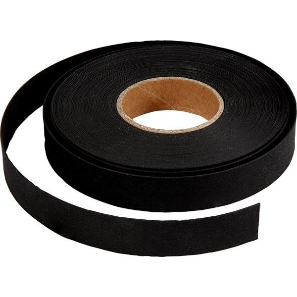Flettestrimler i læderpapir, 15mm x 9,5m, sort