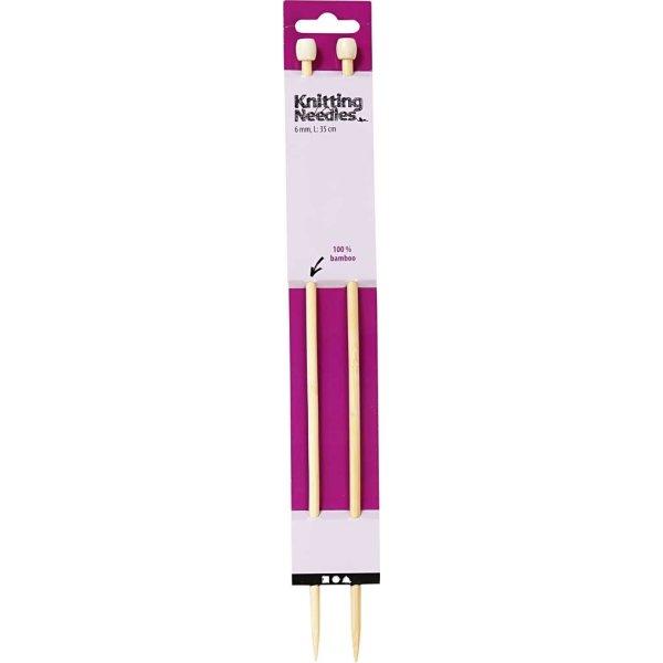 Strikkepinde, nr. 6, L: 35 cm, bambus