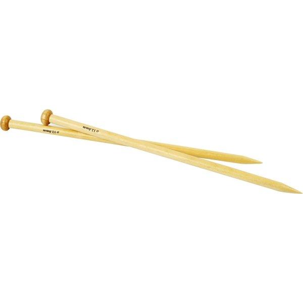 Strikkepinde, nr. 12, L: 35 cm, bambus