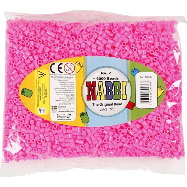 Nabbi Rørperler, 6000 stk, rosa (2)