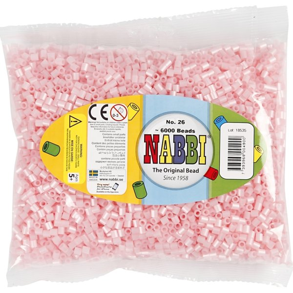 Nabbi Rørperler, 6000 stk, rosa perlemor (26)