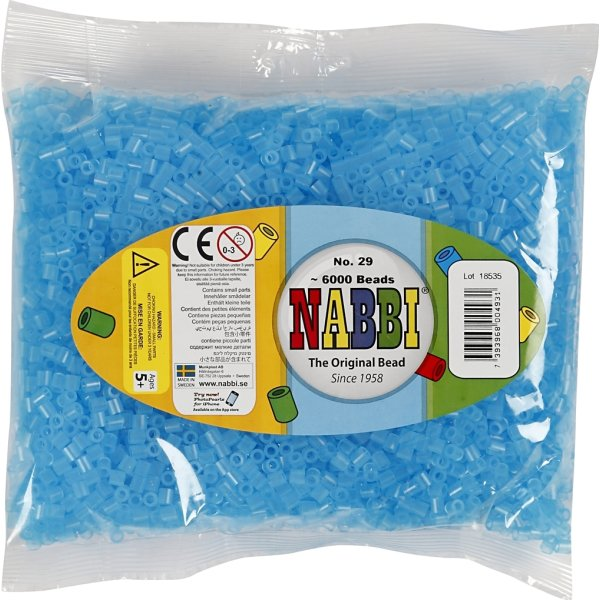 Nabbi Rørperler, 6000 stk, blå neon (29)