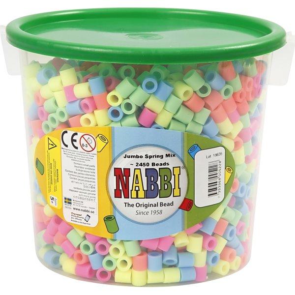 Nabbi Jumbo Rørperler, 2450 stk, pastelfarver