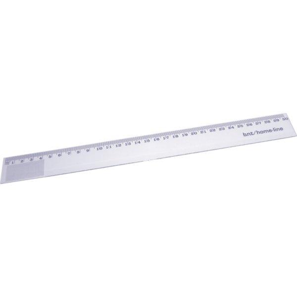 Lineal, plast glasklar, 30 cm