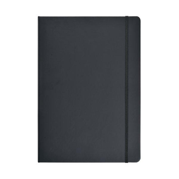 Notesbog A4 ulin. PU-mat. med elastiklukning, sort