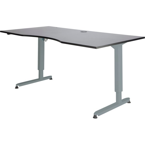 Stay hæve/sænkebord, 180x90 cm, grå/alu