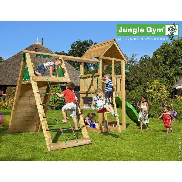 Jungle Gym legetårn m. klatrestativ og rutschebane