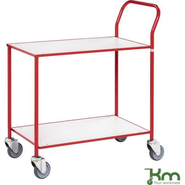 Rullebord - 2 hylder, 840x430x970, Rød/Hvid