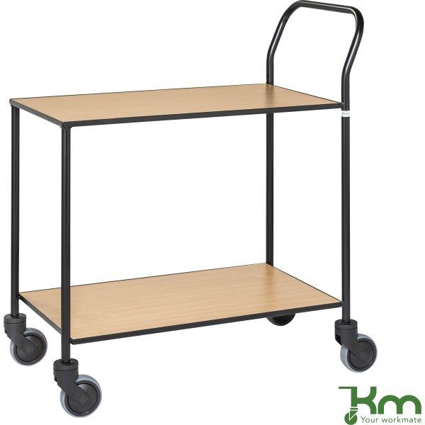 Rullebord - 2 hylder, 840x430x970, Sort/Bøg