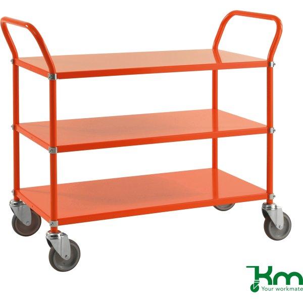 Rullevogn 3 hylder, 1070x450x940, 250 kg, Orange