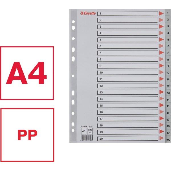 Esselte register A4, 1-20, plast, grå