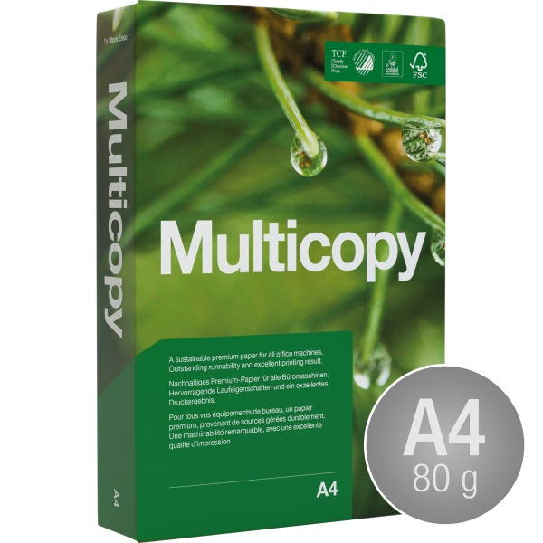 Multicopy Kopipapir A4/80gr. m/4 huller