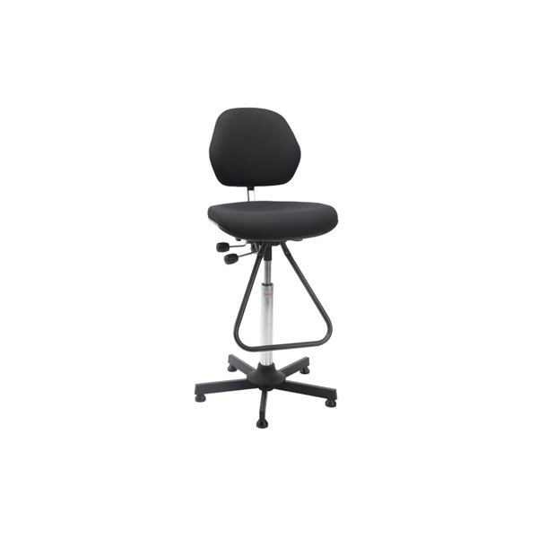 Aktiv arbejdsstol m/ fodbøjle, sort, stof