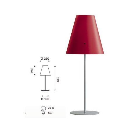 Athene bordlampe bordeaux, skærm alu fod