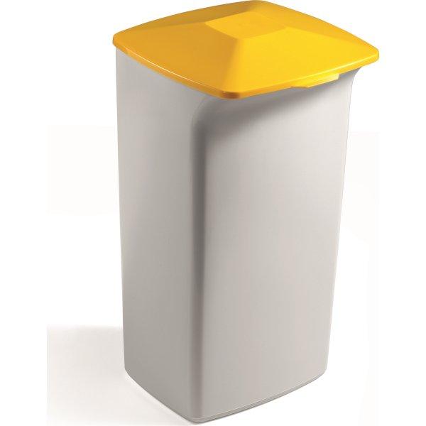 Fladt låg affaldsspand 40 l, Gul