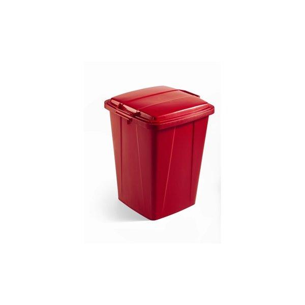 Låg affaldsspand 90 l, Rød