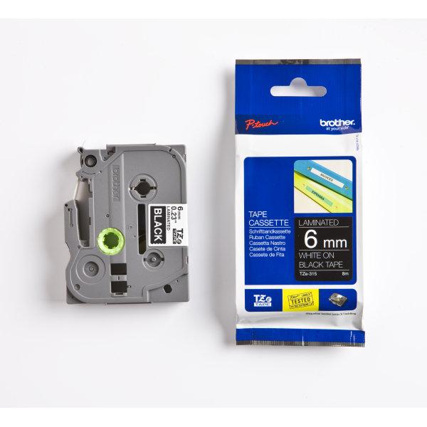 Brother TZe-315 labeltape 6mm, hvid på sort