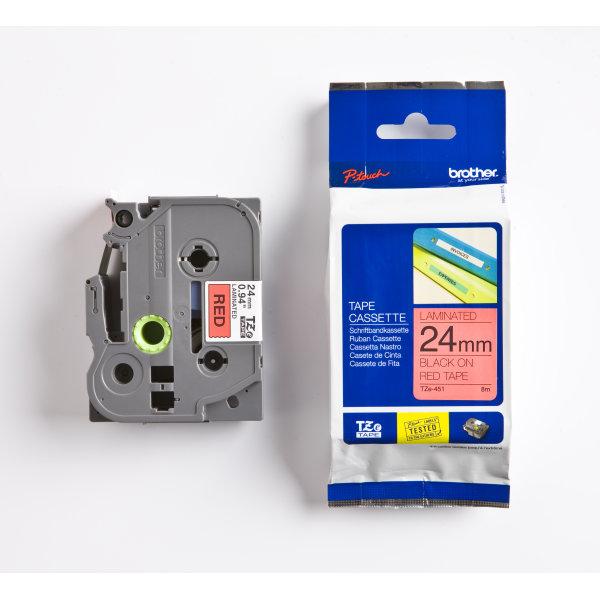 Brother TZe-451 labeltape 24mm, sort på rød