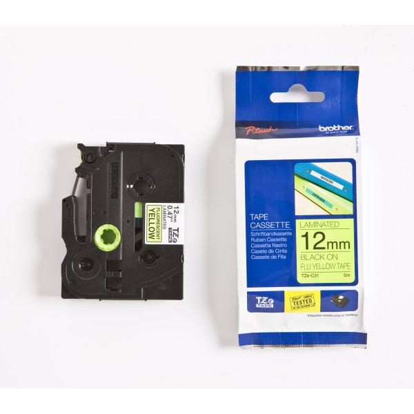 Brother TZe-C31 labeltape 12mm, sort på gul