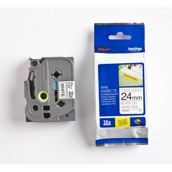 Brother TZe-S251 labeltape 24mm, sort på hvid