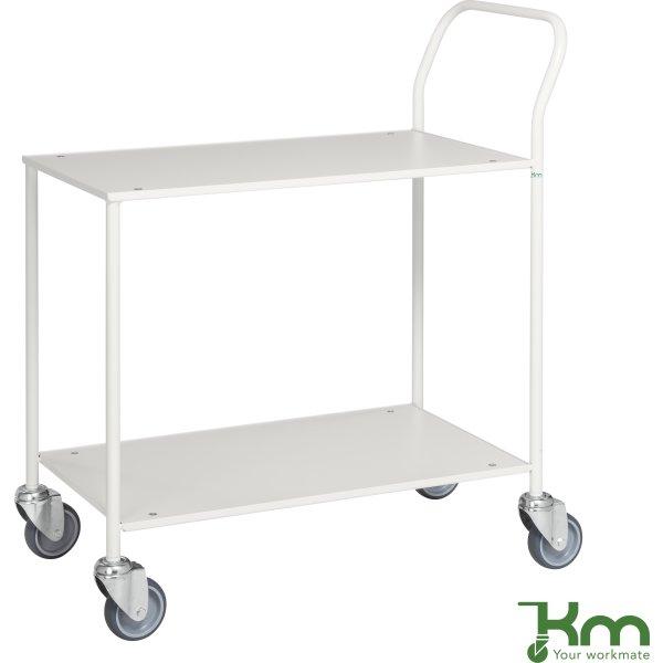Rullebord - 2 hylder, 840x430x970, Hvid/Hvid
