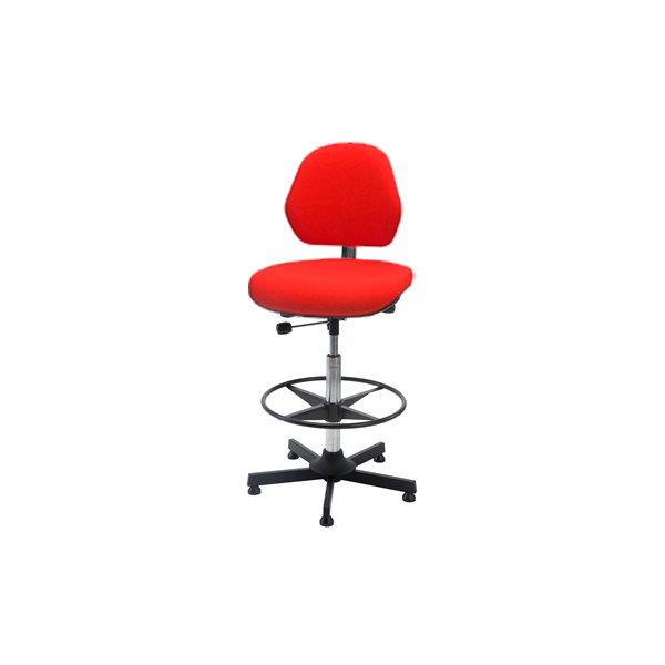 Aktiv arbejdsstol m/ fodring, rød, stof