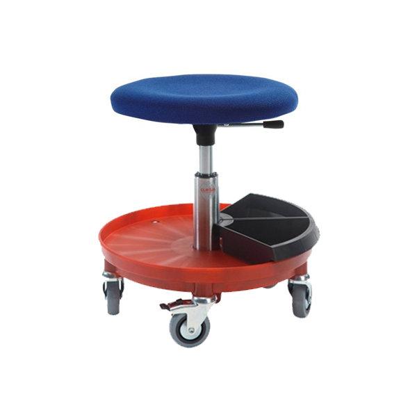 Montørstol, polstret sæde, nylonbase, blå