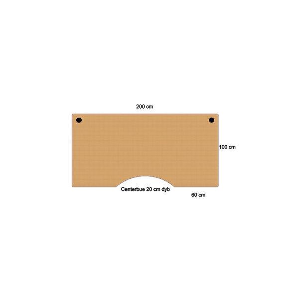 Flexo hæve/sænkebord 200 cm m/centerbue bøg
