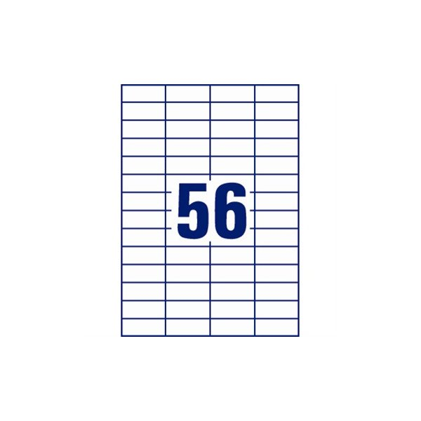 Avery 3668 uni.etiketter, 52,5 x 21,2mm, hvide