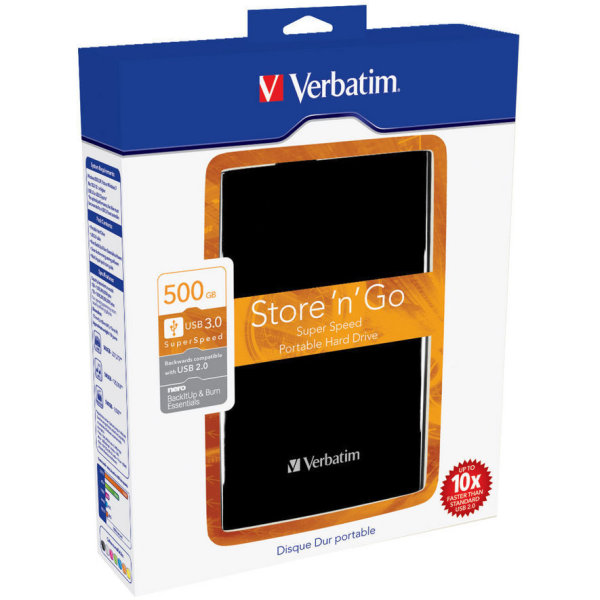 "Verbatim Store 'N' Go 2,5"" 500GB USB 3.0, sort"