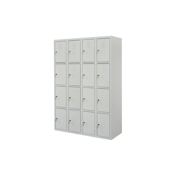 Proff garderobeskab,4x4 rum,Plan,Cylinderlås,Grå