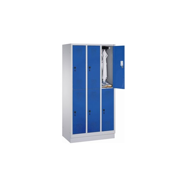 CP garderobeskab, 3x2 rum, Sokkel,Hængelås,Grå/Blå