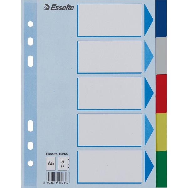 Esselte Faneblade A5, 5-delt, farvet