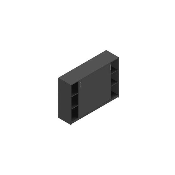 Jive+ Skydedørsskab m/6 rum m/lås antracit B160 cm