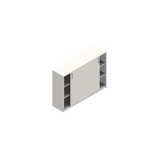 Jive+ Skydedørsskab m/6 rum m/lås hvid B160 cm