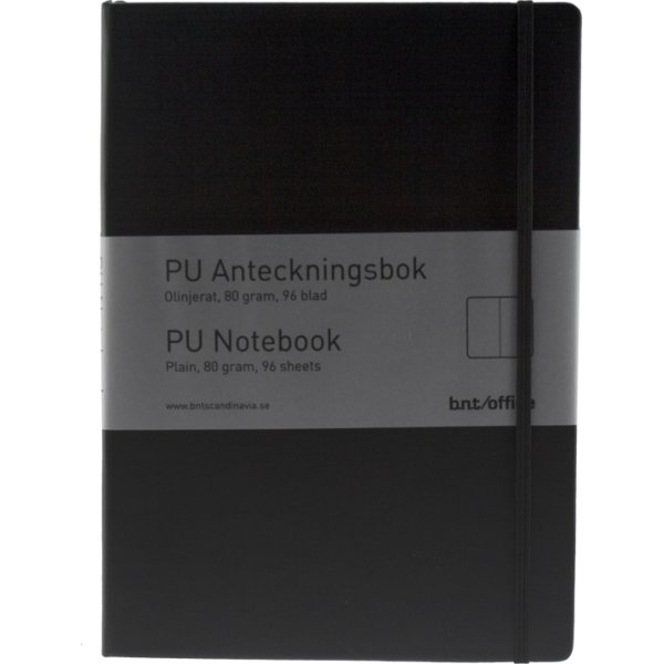 Notesbog A6 ulin. PU-mat. med elastiklukning, sort