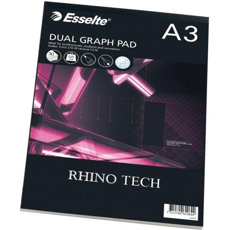 Esselte Rhino millimeterpapir A3, 30 ark, 2 blokke