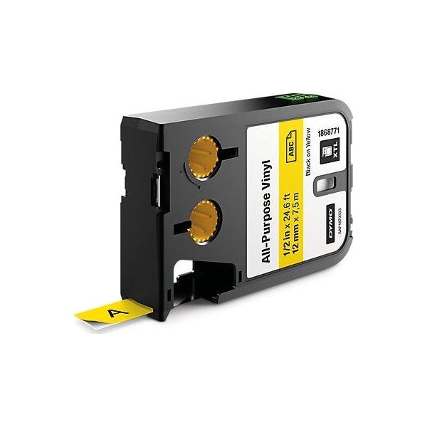 Dymo XTL, vinyltape, 12 mm, sort på gul