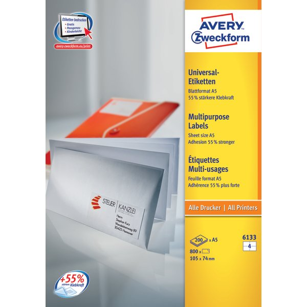 Avery 6133 etiketter på A5 ark, 105 x 74mm
